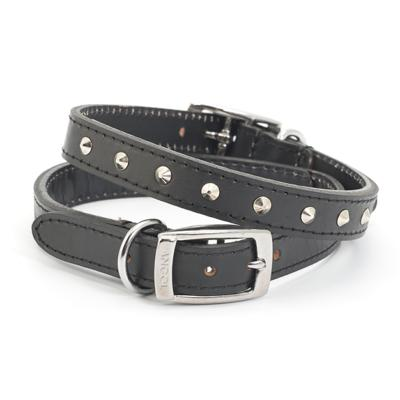 Ancol Leather Sewn/studded Collar Black