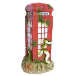 Betta Red Telephone Box Aquatic Ornament