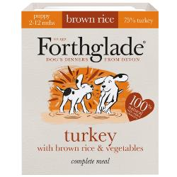 Forthglade Turkey & Brown Rice Natural Complete Puppy Food Tray 395g