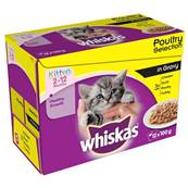 Whiskas Kitten Pouch Multipack 12x100g Poultry Selection In Gravy