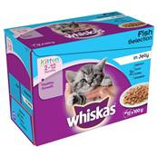Whiskas Kitten Pouch Multipack 12x100g Fish Selection In Jelly