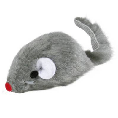 Trixie Plush Mouse With Bell Grey 5cm