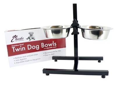 Cheeko Stainless Steel Adjustable Dog Bowl Stand With Bowls