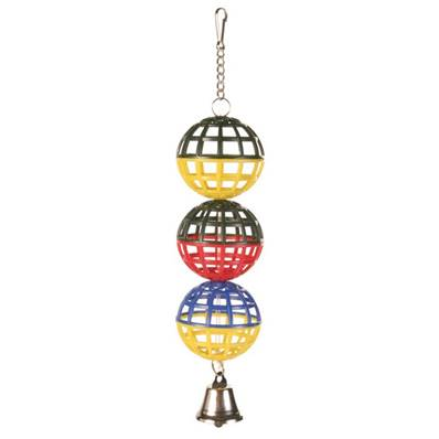 Trixie 3 Lattice Balls With Chain And Bell, 16 Cm