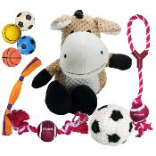 Pack Of 9 Toys For Dogs Balls Rope Plush And Rubber