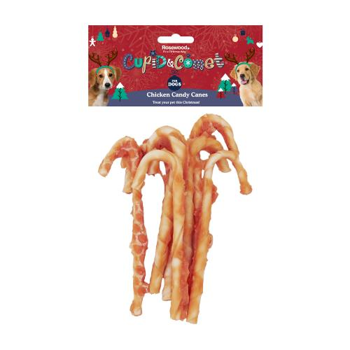 Rosewood Cupid & Comet Chicken Candy Canes For Dogs - 90g