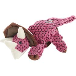 KONG Dynos Plush Pink Triceratops Dog Toy