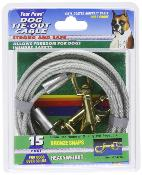 Four Paws Tie Out Cable Heavyweight 15 Foot Silver
