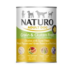 Naturo Grain & Gluten Free Wet Dog Food Tin - Chicken and Sweet Potato 390g