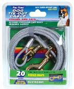 Four Paws Tie Out Cable Heavyweight 20 Foot Silver
