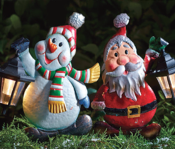 Set Of 2 Solar Lantern Metal Christmas Character Stake Light: Snowman & Santa