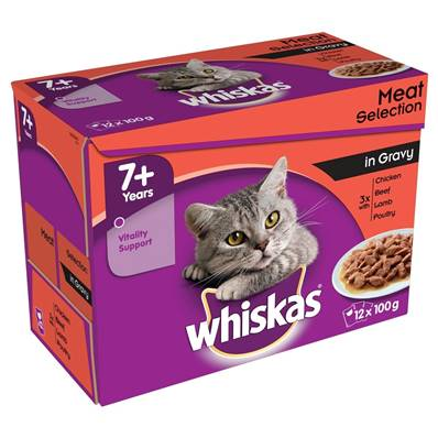 Whiskas Senior Pouch Multipack 12x100g Meat Selection In Gravy