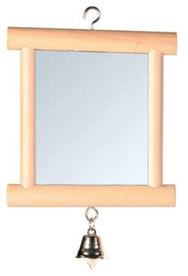 Trixie Mirror With Wooden Frame/Bell