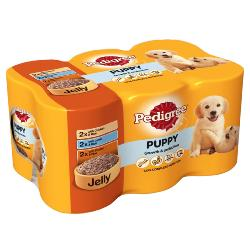 Pedigree Wet Dog Food Tins For Puppy - Meat Selection In Jelly (6 X 400g)