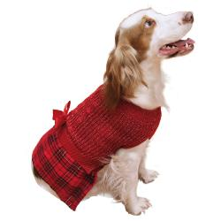 Rosewood Tartan Christmas Jumper Dress for Dogs