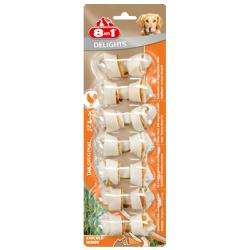 8 In 1 Delights Gluten Free Rawhide Dog Treats - Extra Small Chicken Bones, 7 Piece
