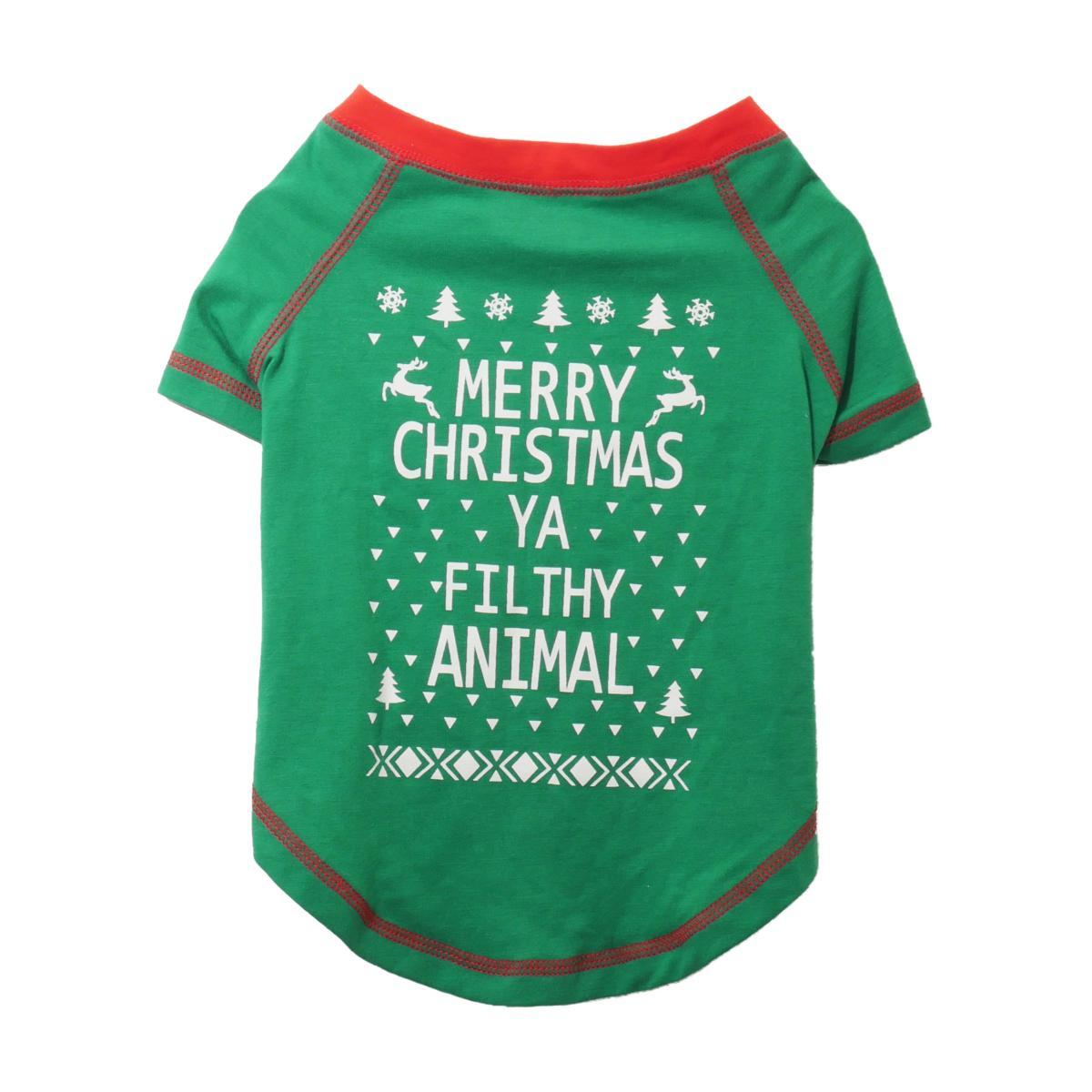 Merry Christmas Ya Filthy Animal Shirt.Rosewood Merry Christmas Ya Filthy Animal Novelty Dog T Shirt