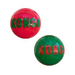 KONG Holiday Signature Balls for Dogs - 2 Pack - Medium