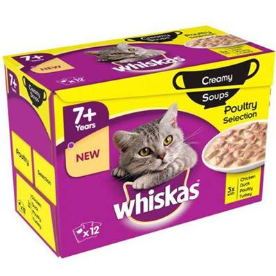Whiskas 7+ Cat Pouches Creamy Soup Poultry 12pack 85g