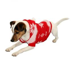 Armitage Festive Red Christmas Dog Jumper With Hood