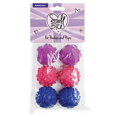 Ancol Small Bite Mini Vinyl Ball Selection 6 Pack