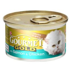 Gourmet Gold Cans 85g Salmon & Chicken in Chunks in Gravy
