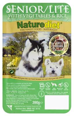 Naturediet Gluten Free Wet Dog Food (Senior/Lite) - Turkey, Rabbit, Veg and Rice 390g
