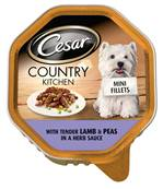 Cesar Country Kitchen Mini Fillets Wet Dog Food - Lamb and Peas in a Herb Sauce 150g