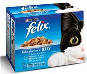 Felix Pouch Multipack 12x100g Fish Selection Chunks in Jelly
