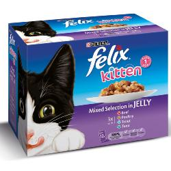 Felix Pouch Multipack 12x100g Kitten Chunks in Jelly (Poultry/Tuna/Trout/Beef)