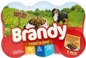 Brandy Wet Dog Food Tins - Chunks in Gravy Variety Pack (6 X 395g)