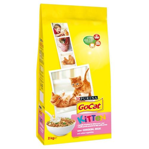 Go Cat Complete Dry Food Kitten with Chicken, Milk & added Vegetables 2kg