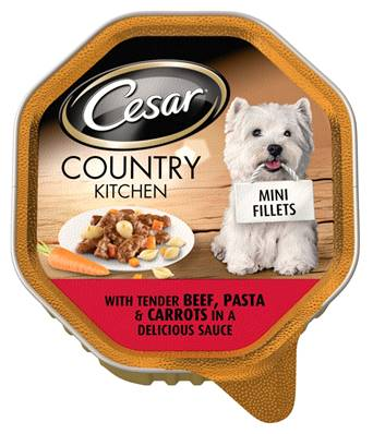 Cesar Country Kitchen Mini Fillets Wet Dog Food - Tender Beef and Pasta 150g
