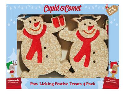 Rosewood Snowman Paw Licking Treats 4 Piece Box For Dogs