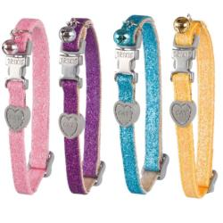 Trixie Glitter Heart Safety Cat Collar With Bell - 4 Colours