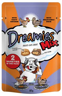 Dreamies Cat Treats Mixed Flavours - Chicken and Duck 60g