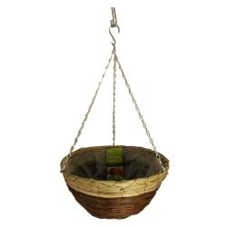 Gardman 14 Inch Black Seagrass And Natural Grass Hanging Basket