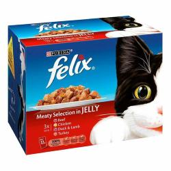 Felix As Good As It Looks Multipack Pouch 12x100g Meaty Selection In Jelly