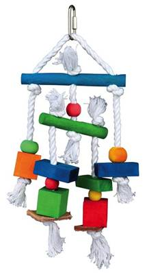 Trixie Colourful Wooden Toy On A Rope For Budgies And Cockatiels 24cm