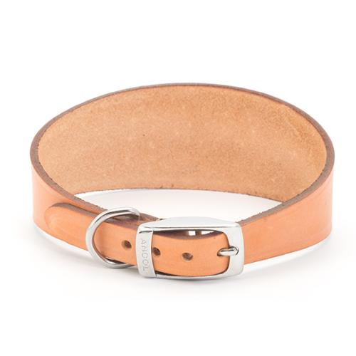 LURCHER SOS DONATION - Ancol Whippet Leather Collar Tan 30-34cm