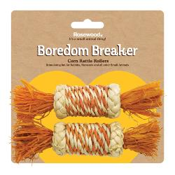 Rosewood Boredom Breaker Activity Toy Corn Rattle Rollers Pack Of 2