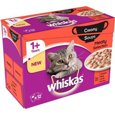 Whiskas 1+ Cat Pouches Creamy Soup Meat 12pack 85g