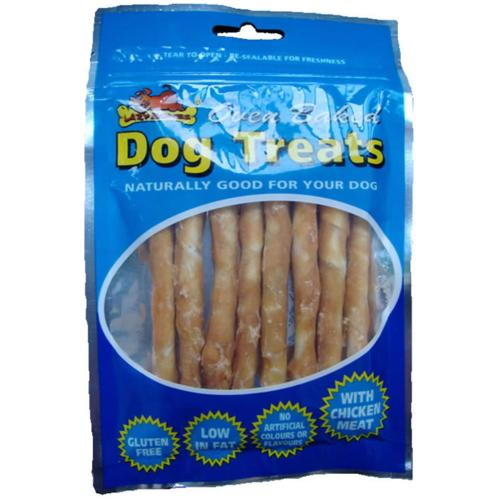 Lazy Bones Rawhide Chicken Twists (8 Sticks)