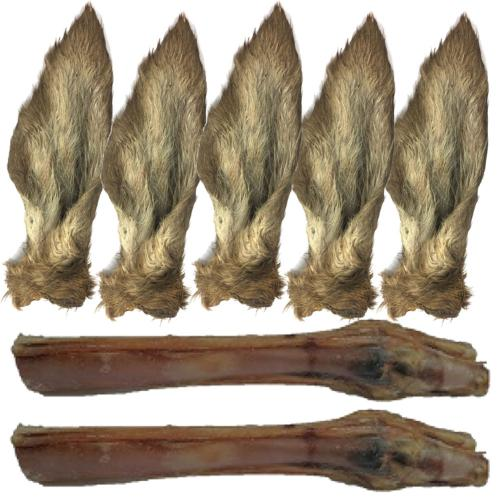 Anco Naturals Dog Treat Hairy Deer Ear & Red Deer Leg Value Pack