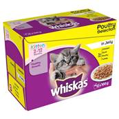 Whiskas Kitten Pouch Multipack 12x100g Poultry Selection in Jelly