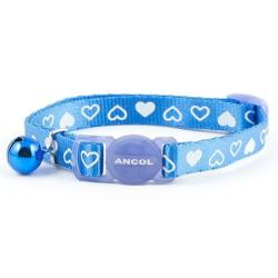 Ancol Silky Nylon Cat Collar With Bell - Blue Heart