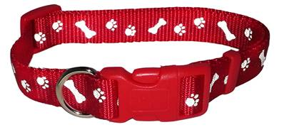 Ancol Paw And Bone Reflective Adjustable Collar, Red Size 5-9, 18-30""