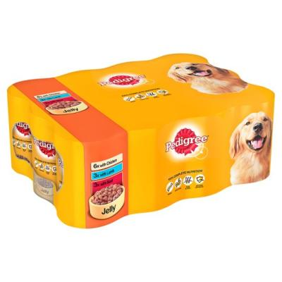 DOTS OXFORD DONATION - Pedigree Wet Dog Food Tins (Adult) - Mixed Chunks In Jelly (12 X 385g)