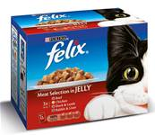 Felix Pouch Multipack 12x100g Meat Selection Chunks in Jelly