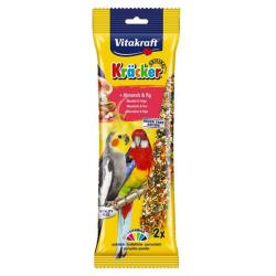 Vitakraft Kracker Cockatiel & Parrot Treat Sticks (2 Pack) - Almond & Fig